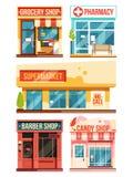 Snabbmatrestaurang och boutique Vektoruppsättningisolat på vit bakgrund royaltyfri illustrationer