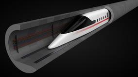 snabbt drev begreppsdesign för tunnelteknologi för magnetisk svävning och vakuum illustration 3d vektor illustrationer