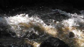 Snabbt flödande vatten nära en vattenfall stock video