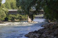 Snabbt flyttningvatten på Mur River Royaltyfri Fotografi