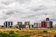 Snabbt framkallande område för central affär, Gaborone, Botswana Arkivbilder
