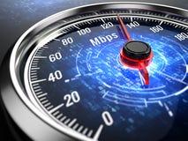 Snabbt internetuppkopplingbegrepp - hastighetsmätare med internetuppkopplinghastighet stock illustrationer