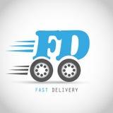 Snabbt leveranssymbol på hjul Arkivfoton