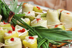 Snack. Vegetable snack with leek and white cheese Royalty Free Stock Images