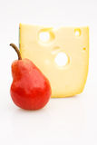 Snack. Food & Drinks - Cheese. Emmenthal cheese and pear Royalty Free Stock Photography