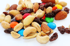 Snack. Mix of nuts, candies and dried fruits Stock Photo