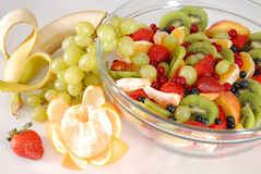 Snack. Breakfast - fruit salad with banana Stock Image