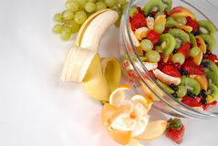 Snack. Breakfast - fruit salad with banana Royalty Free Stock Images