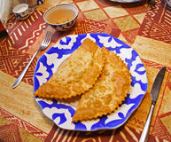 Snack. 2 cheburek (a mutton pie eaten in the Crimea and the Caucasus Royalty Free Stock Photos