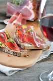 Snack with bacon and bread Royalty Free Stock Images
