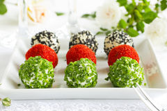 Snack-balls of goat cheese Royalty Free Stock Photo