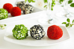 Snack-balls of goat cheese Royalty Free Stock Images