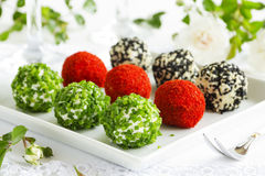 Snack-balls of goat cheese stock image