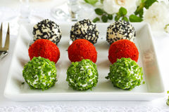 Snack-balls of goat cheese Stock Images