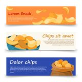 Snack banners template with potato chips Stock Image
