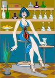 Snack-bar. Women in snack-bar.Vector illustration Royalty Free Stock Photos
