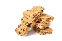 Snack bar or energy bar. Isolated on white background, healthy eating Royalty Free Stock Images
