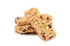 Snack bar or energy bar. On white background, healthy eating Stock Photo