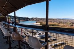 Snack bar overlooking the marina. Overlooking the Colorado River bay at Topock, Arizona royalty free stock images