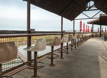 Snack bar overlooking the marina royalty free stock image