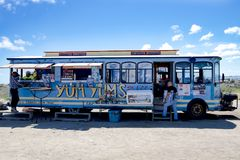 Snack and Bar Tram, Island Aruba stock photography