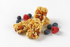 Snack bars with almonds and nuts Royalty Free Stock Images