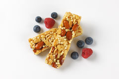 Snack bars with almonds and nuts Royalty Free Stock Photo