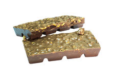 Snack;blur Dark chocolate almond bark in a stack Royalty Free Stock Images
