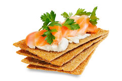 Snack. Bread with feta cheese and salmon. Isolated on white Royalty Free Stock Images