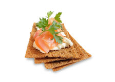 Snack. Bread with feta cheese and salmon. Isolated on white Stock Photography