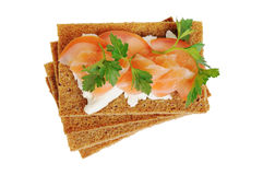 Snack. Bread with feta cheese and salmon. Isolated on white Royalty Free Stock Photography