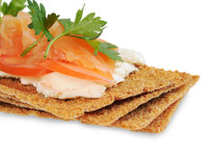 Snack. Bread with feta cheese and salmon. Stock Photography