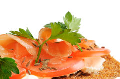 Snack. Bread with feta cheese and salmon. Stock Images