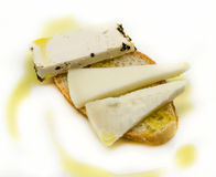 Snack of bread and goat cheese Royalty Free Stock Images