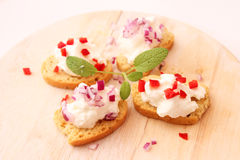 Snack of bread and quark Royalty Free Stock Photos
