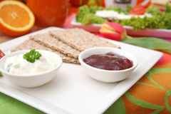 Snack of bread with quark and marmalade Royalty Free Stock Photos