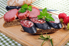 Snack bread with smoked sausages Stock Photo