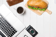 Snack at break time. Healthy business lunch in office, top view Stock Image