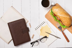 Snack at break time. Healthy business lunch in office, top view Royalty Free Stock Photos