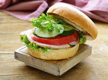 Snack burger with fresh vegetables and ham Royalty Free Stock Photos