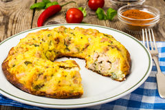 Snack cake with meat and cheese Stock Photo