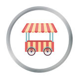 Snack cart icon in cartoon style isolated on white background. Circus symbol stock vector illustration. Snack cart icon in cartoon style isolated on white Royalty Free Stock Photo