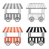 Snack cart icon in cartoon style isolated on white background. Circus symbol stock vector illustration. Snack cart icon in cartoon style isolated on white Stock Images