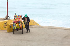 Snack Cart and Person on the Coast of Barranco, Lima, Peru Stock Photos