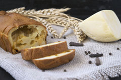 Snack cheese bread. Snack Pie: cheese bread with black pepper Royalty Free Stock Images