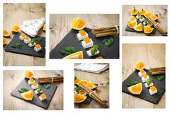 Snack cheese with quince and fresh oranges Royalty Free Stock Photography