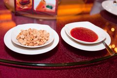 Snack and Chili Sauce Stock Photography