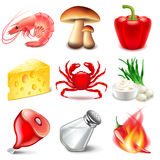 Snack or chips flavors icons vector set Royalty Free Stock Images