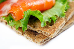 Snack. Close up of crispbread with salmon and salad. Shalow DOF Stock Images