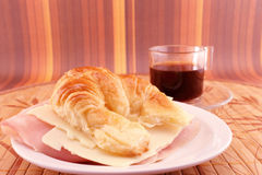 Snack with coffee and croissant Stock Images